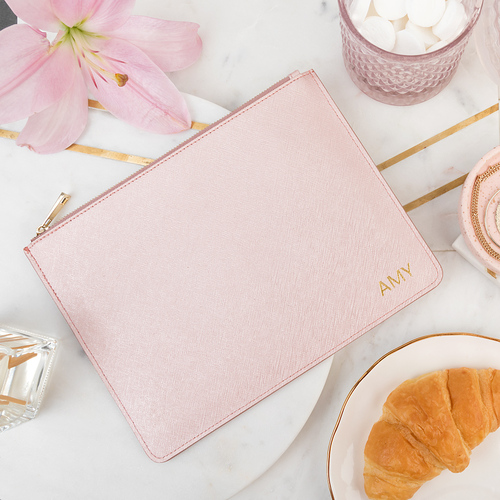 Miss London Metallic Rose Gold - Personalised Leather Pouch