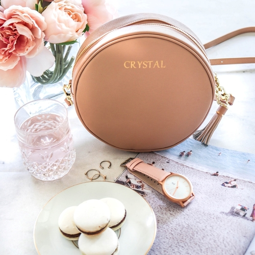 Miss Ella Circle Bag Personalised Leather Luxe Camel