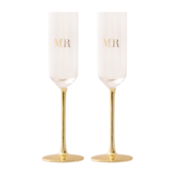 Cristina Re Champagne Flutes Crystal MR & MRS
